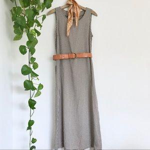 Vintage Gingham Plaid Tie Back Midi Dress